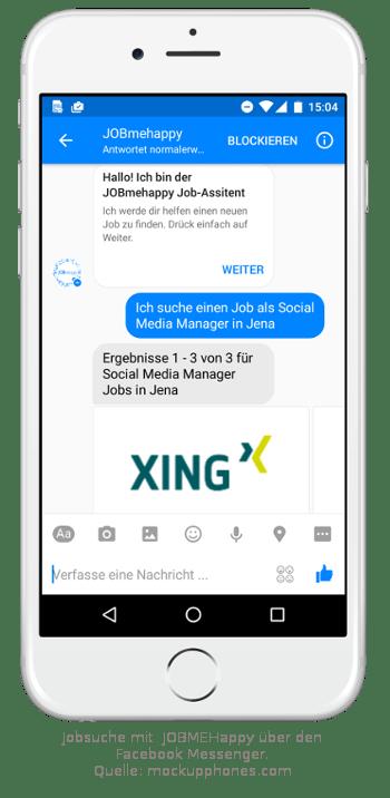 Jobsuche über Jobmehappy. Kommunikation mit einem Chatbot im Facebook Messenger. Einsatz des Facebook Messenger im Recruiting