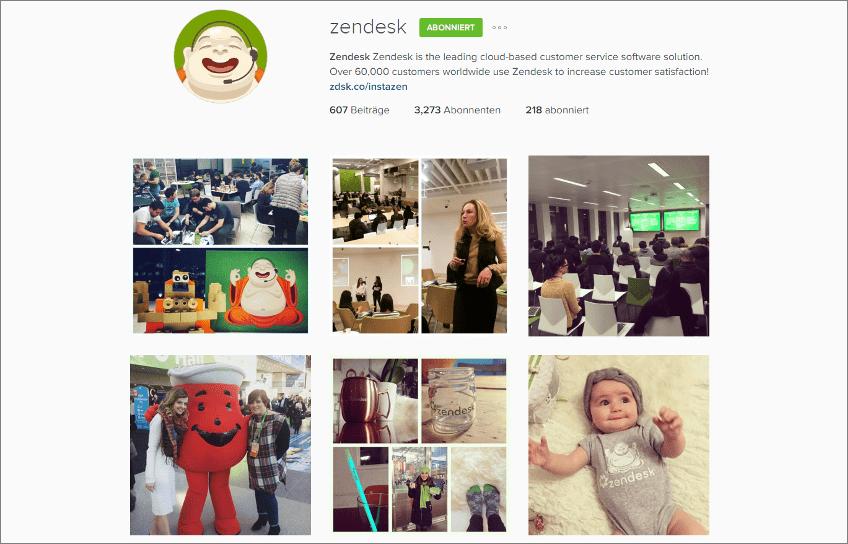Instagram-Auftritt von Zendesk