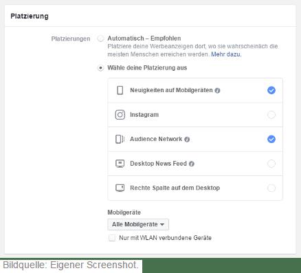 Facebook Audience Network Platzierung