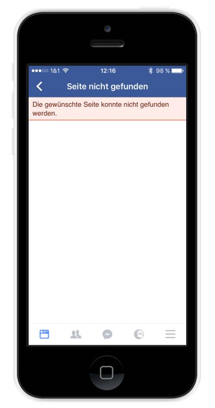 Facebook Bug App-Weiterleitungen