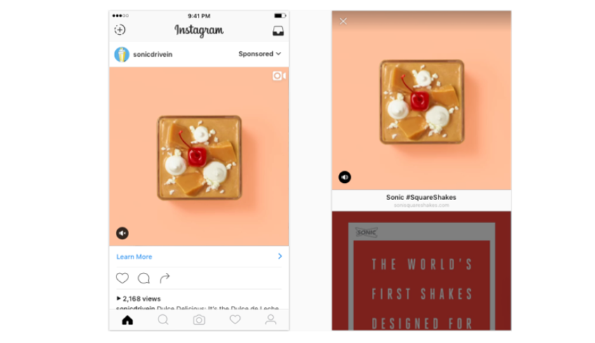 Instagram Ads Video Anzeigen Splitscreen Website