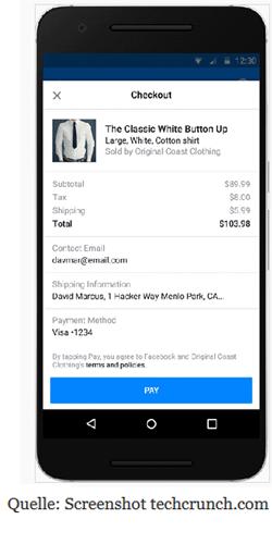 Payment Messenger Facebook Bots Bezahlung