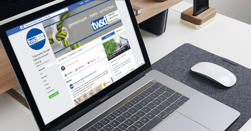 Facebookseite des twsd an Laptop geoeffnet