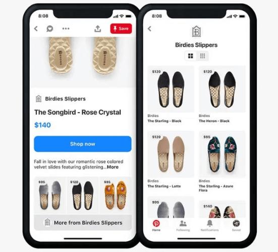 Pinterest Catalogs mit Schuhen