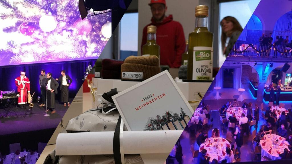 Towerbyte Weihnachtsfeier 2019 mit Weihnachtsmann Geschenken und Abendessen