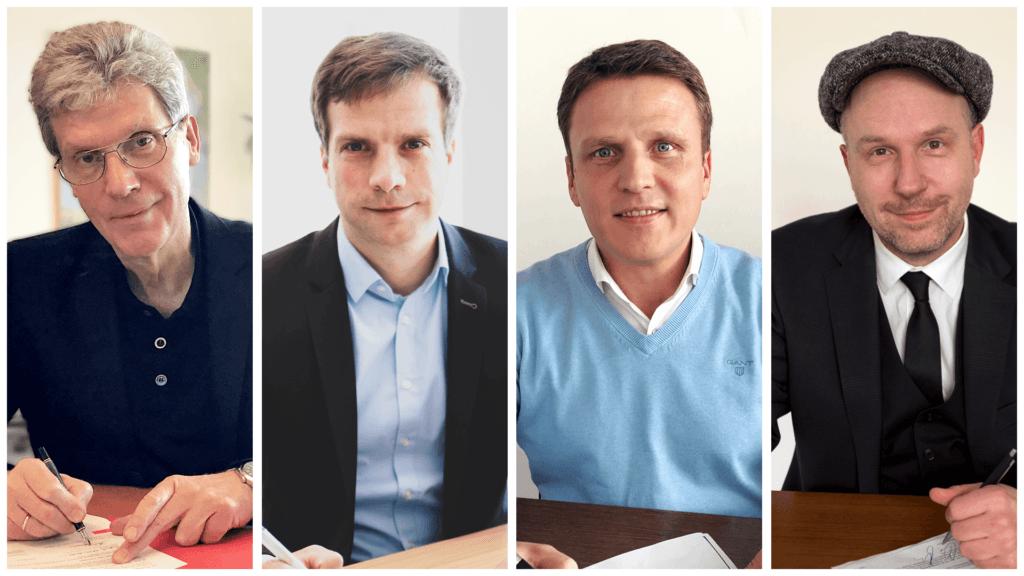 Bildungsminister Holter und fuehrende Koepfe der Partneragenturen