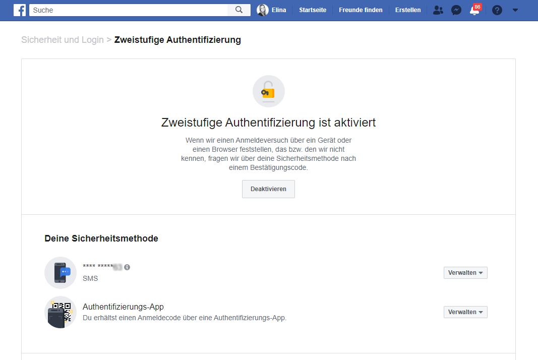 Facebook 2 Faktor Authentifizierung