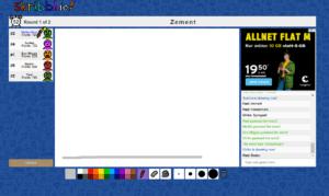 """Online-Spiel scribbl.io, bei dem das Wort """"Zement"""" als grauer Balken gemalt wurde"""