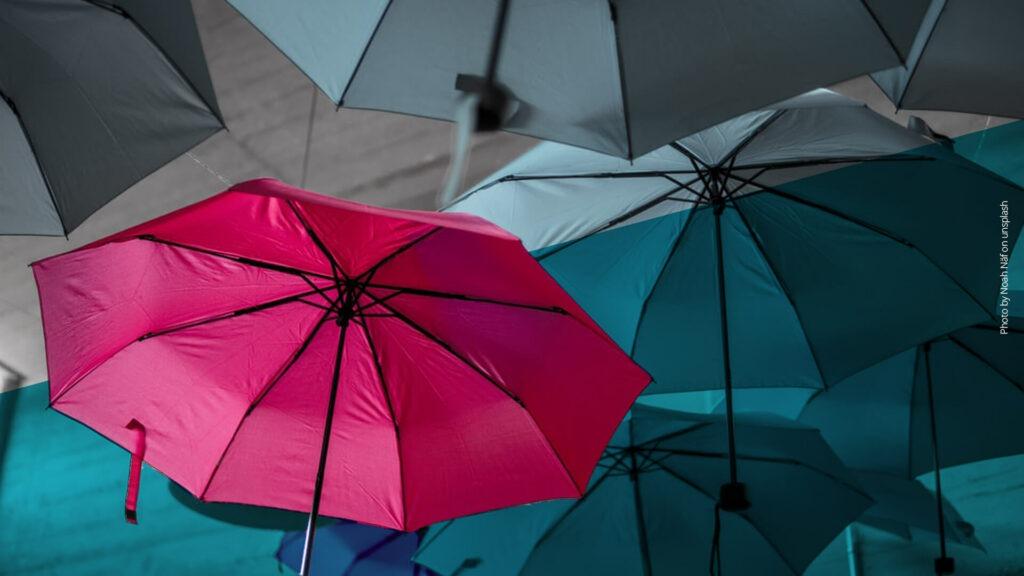 Pinker Regenschirm im Vordergrund, graue Regenschirme im Hintergrund