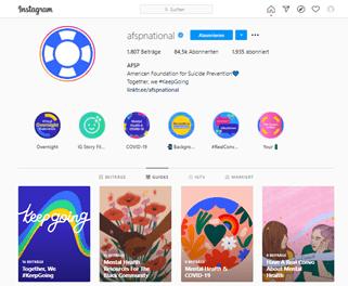 Screenshot vom Instagram-Profil von AFSP, das die neuen Guides enthält