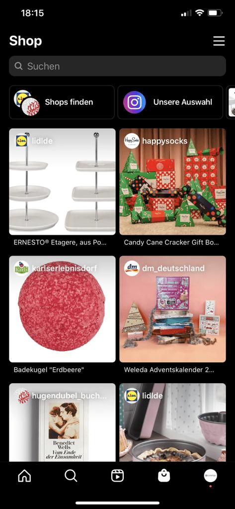 Screenshot vom Shop-Bereich in Instagram