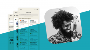 Logo und Screenshots von der Clubhouse App