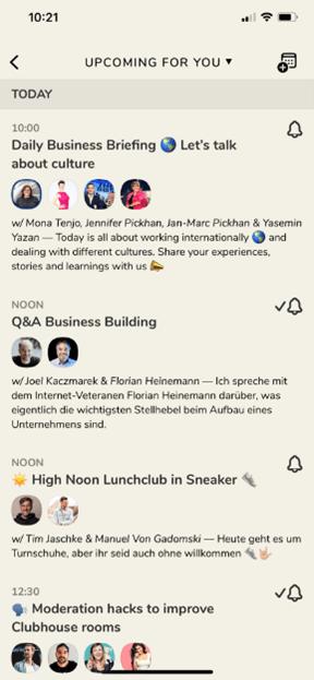 Screenshot vom Clubhouse Zeitplan