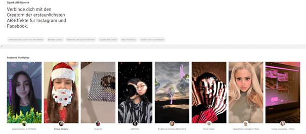 Screenshot der Facebook Spark AR Galerie