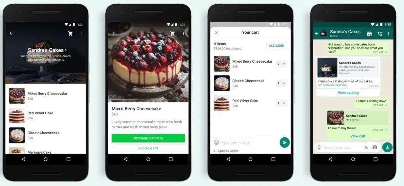 Screenshot der WhatsApp Shopping Cart-Funktion