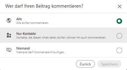 Screenshot der Auswahlmöglichkeiten bei der Einschränkung von Kommentaren