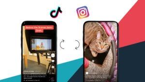 Zwei Handys mit Screenshots von TikTok und Instagram Reels sowie den jeweiligen Logos