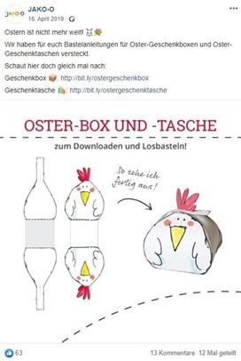 Screenshot von einer DIY-Bastelidee für Ostern auf Facebook