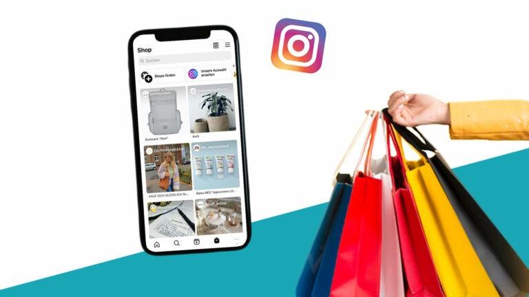 Shoppingtüten und Handy mit geöffnetem Instagram Shop