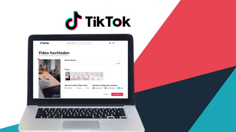 Laptop mit geöffnetem TikTok Desktop Publisher