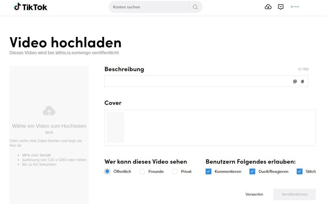 Screenshot des TikTok Desktop Publishers