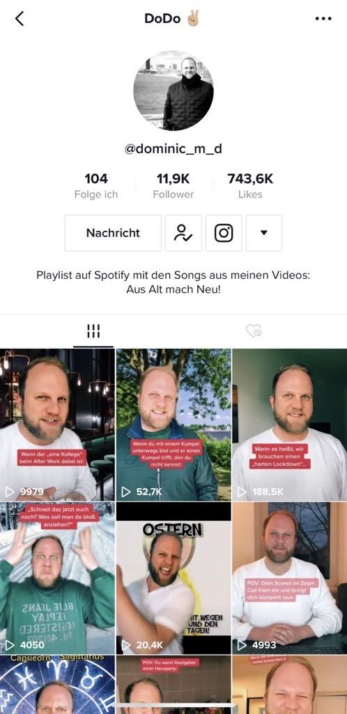 Screenshot eines privaten TikTok Accounts