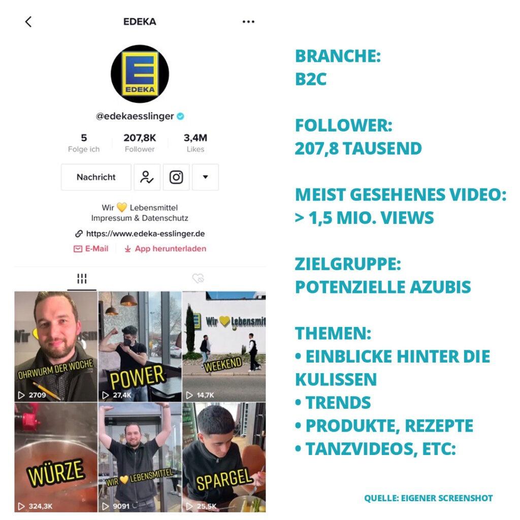 Screenshot des TikTok Accounts von Edeka Esslinger + Fakten