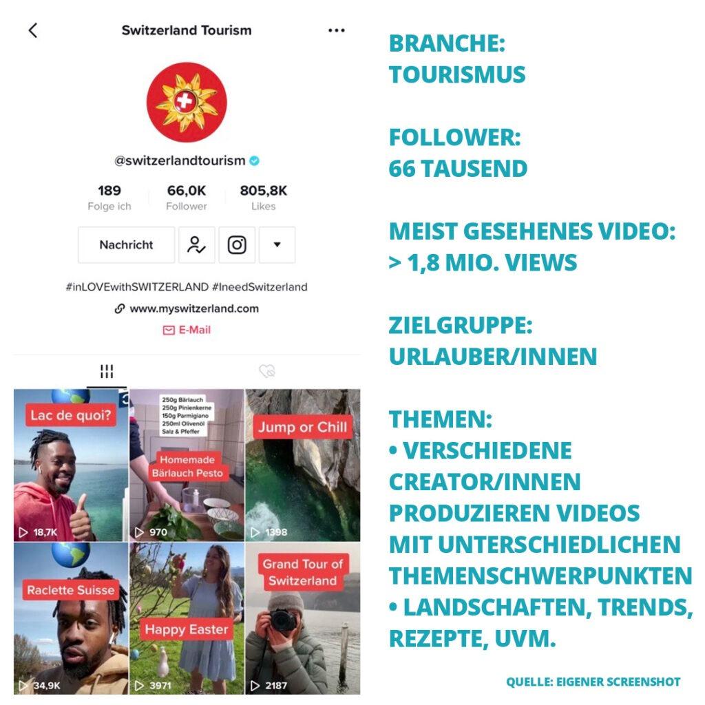 Screenshot des TikTok Accounts von Switzerland Tourism + Fakten