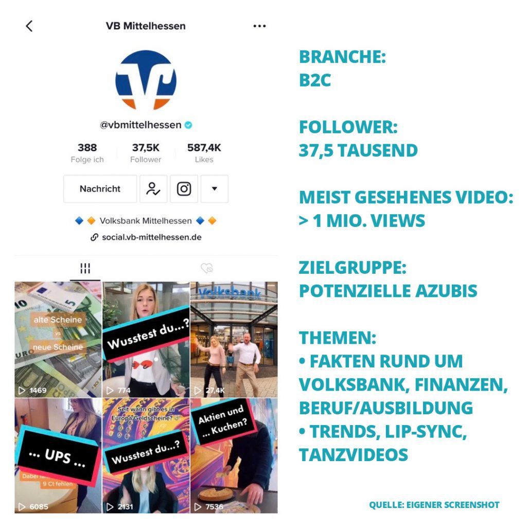 Screenshot des TikTok Kanals der Volksbank Mittelhessen + Fakten
