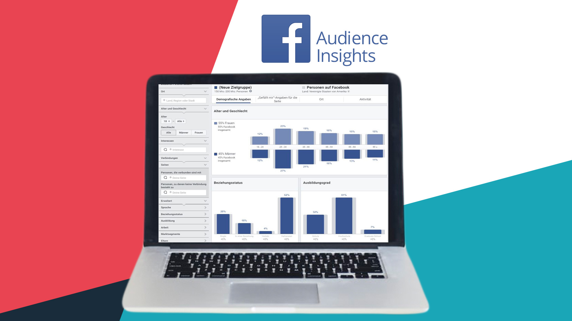 Laptop mit Screenshot der Facebook Audience Insights und Facebook Logo