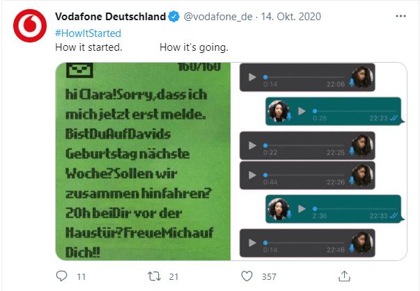 Screenshot von einem Vodafone Post