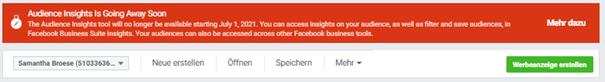 Screenshot der Mitteilung von Facebook, dass Audience Insights eingestellt werden
