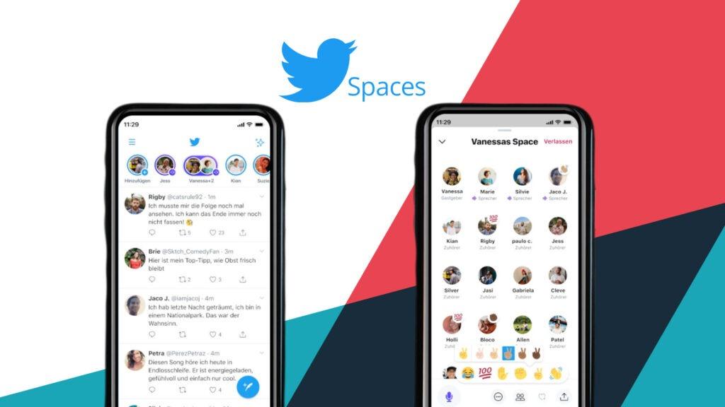 Screenshots der Twitter Spaces vor buntem Hintergrund