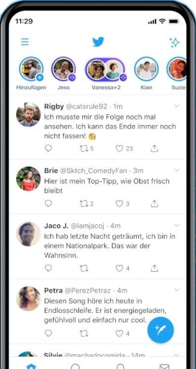Screenshot der Twitter Spaces im Feed