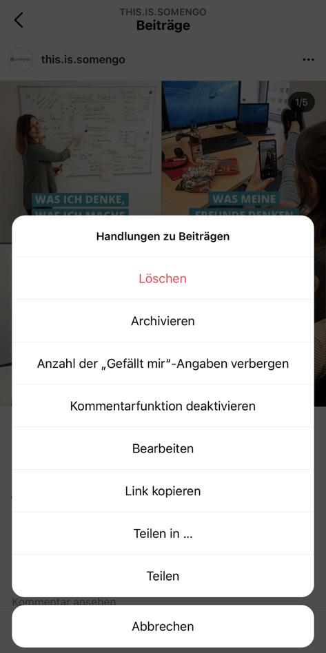 Screenshot von der Option, bei einem einzelnen Beitrag die Like-Anzeige zu verbergen