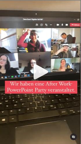 Screenshot eines Reels, mehrere Mitarbeiter eines Unternehmens sind in einer Videokonferenz und lachen
