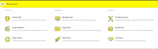 Screenshot vom Snapchat Ad Manager