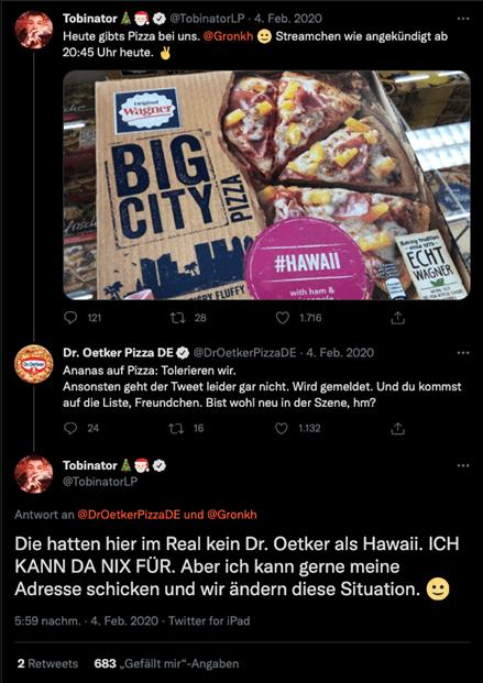 Screenshot einer Antwort von Dr Oetker Pizza auf einen Tweet