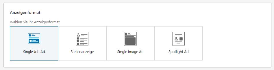Auswahlmöglichkeiten beim Anzeigenformat von LinkedIn Ads