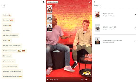 Screenshot der ersten Live-Shopping-Show auf sosho