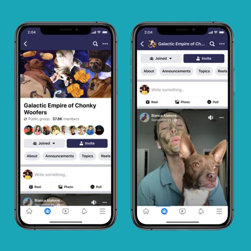 Screenshot der Facebook Reels in Gruppen